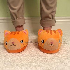 Orange kitty cat slippers
